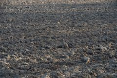 Rich, black midwestern soil in plowed field ready for spring pla. The Rich, black midwestern soil in plowed field ready for spring planting Stock Photo