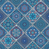 Rich Blue Tile Ornament. From mandalas. Seamless pattern in oriental style. Square tile patchwork design. Intricate tile pattern. Boho chic tile pattern for royalty free stock photos