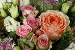Rich bouquet of chic flowers. Сolorful rich bouquet of chic flowers roses and others stock images