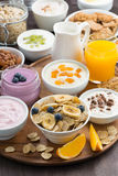 Rich breakfast buffet with cereals, yoghurt and fresh fruit Stock Image
