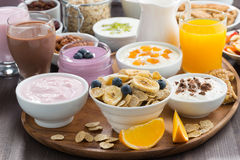 Rich breakfast buffet with cereals, yoghurt and fruit Stock Images
