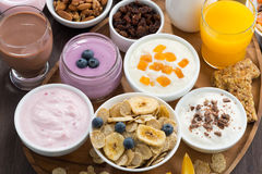 Rich breakfast buffet with cereals, yoghurt and fruit Stock Photo