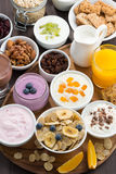 Rich breakfast buffet with cereals, yoghurt and fruit Royalty Free Stock Image