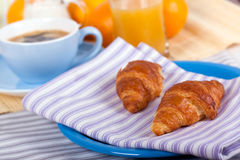 A rich breakfast with croissant , close up Stock Image