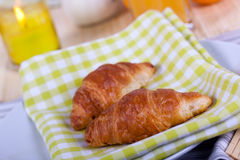 A rich breakfast with croissant , close up Stock Photos