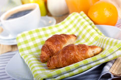 A rich breakfast with croissant , close up Royalty Free Stock Photography