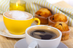A rich breakfast with muffin,coffee,cappuccino Royalty Free Stock Photo