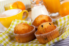 A rich breakfast with muffins , close up Stock Images