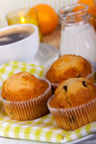 A rich breakfast with muffins , close up Royalty Free Stock Image