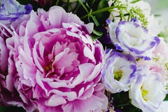 Rich bunch of pink peonies peony and lilac eustoma roses flowers. Rustic style, still life. Fresh spring bouquet, pastel Stock Images