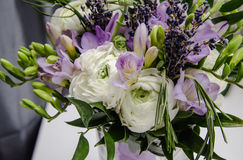 Rich bunch of violet fresia, white buttercup ranunculus peonies, green leaf, lilac lavender, roses, rosemary in bouquet Stock Photo