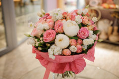 Rich bunch of white and pink roses,  peonies Royalty Free Stock Photography