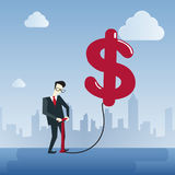 Rich Business Man Hold Dollar Sign Money Finance Success Concept. Flat Vector Illustration Royalty Free Stock Images