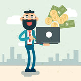 Rich Business Man Hold Laptop som kastar pengar royaltyfri illustrationer