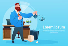 Rich Business Man Hold Scale With Money Office Interior Businessman Workplace. Flat Vector Illustration Royalty Free Stock Images