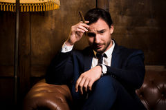 Rich businessman with cigar Stock Image