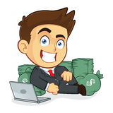 Rich Businessman Lie Around Cash. Clipart Picture of a Rich Male Businessman Cartoon Character Lie Around Cash Royalty Free Stock Images