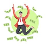 Rich businessman in suit jumping with dollar bills isolated icon