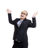 Rich businessman wear dollar sign glasses and hand up Stock Photos