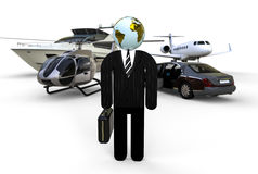 Rich businessmen with his transport fleet. 3D render image representing an rich businessmen with his transport fleet Stock Photography