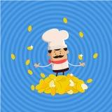 Rich Cartoon Chef Flat Vector-Illustratieontwerp Stock Foto's