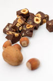 Rich Chocolate Fudge with nuts Royalty Free Stock Image