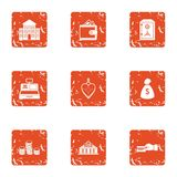Rich city icons set, grunge style. Rich city icons set. Grunge set of 9 rich city vector icons for web isolated on white background Stock Photography