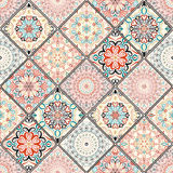 Rich Colorful Tile Ornament. Rich tile ornament from colorful mandalas. Seamless pattern in oriental style. Square tile patchwork design. Intricate tile pattern royalty free stock image