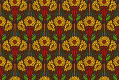 Rich colors wallpaper. Florid art nouveau style wallpaper with sunflowers Royalty Free Stock Photo
