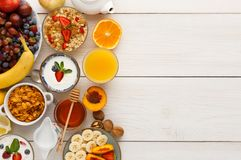 Continental breakfast menu on woden table. Rich continental breakfast menu background. Delicious natural food for tasty morning meals on wooden table Royalty Free Stock Photography