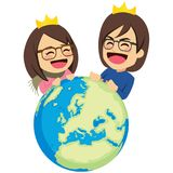 Rich Couple Rule The World Stock Photo