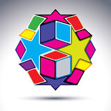 Rich 3d abstract figure constructed from geometric elements -sta. Rs and cubes. Vector fractal design object Royalty Free Stock Image