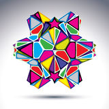 Rich 3d abstract psychedelic figure constructed from triangles a. Nd geometric elements. Vector complicated design object, treasure effect royalty free illustration