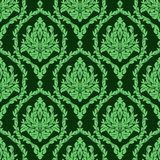 Rich damask seamless floral Wallpaper in green colors Stock Photos