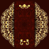 Rich dark background with gold floral mandala. Template for menu, greeting card, invitation or cover. Stock Images