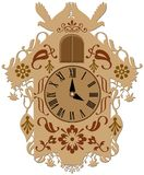 Rich decorated brown cuckoo clock royalty free illustration