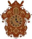 Rich decorated brown cuckoo clock vector illustration