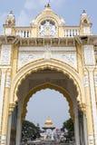 Rich decorated entrance gate of Maharadja's palace in Mysore, Karnataka, India Stock Image