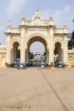 Rich decorated entrance gate of Maharadja's palace in Mysore, Karnataka, India Royalty Free Stock Images