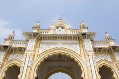 Rich decorated entrance gate of Maharadja's palace in Mysore, Karnataka, India Royalty Free Stock Photos