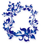 Rich decorated floral frame in blue gamma Stock Image