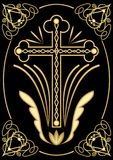 Rich decorated funereal motif with cross, art deco ornamets, symmetrical filigree design on black background, decoration for digni Royalty Free Stock Image