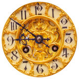 Rich decorated golden clock face isolated on white Royalty Free Stock Image