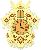 Rich decorated traditional cuckoo clock royalty free illustration