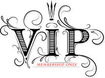 Rich decorated VIP membership only card with crown in black  Stock Images