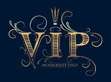 Rich decorated VIP membership only gold card with crown on a dar Royalty Free Stock Images