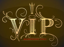 Rich decorated VIP Vip membership only gold and red card with cr Stock Images