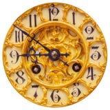 Rich dekorerade den guld- klockaframsidan som isolerades på vit Royaltyfri Bild