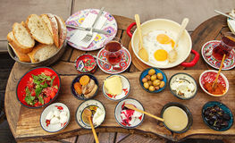 Rich and delicious Turkish breakfast on a round table Royalty Free Stock Images
