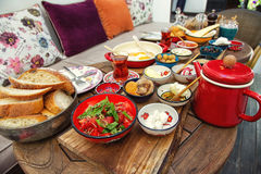 Rich and delicious Turkish breakfast on a round table Royalty Free Stock Photography